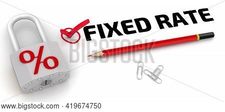 Fixed Rate. The Check Mark And Padlock With Percent. One Red Check Mark With Black Text Fixed Rate,