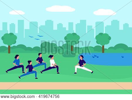 Healthy People Doing Yoga, Sport At City Urban Park. Group Of People Exercising In Nature. Urban Lan