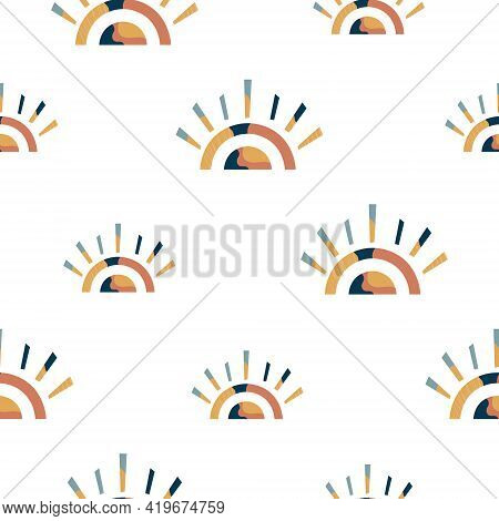 Abstract Seamless Pattern With Pastel Colorful Rainbows