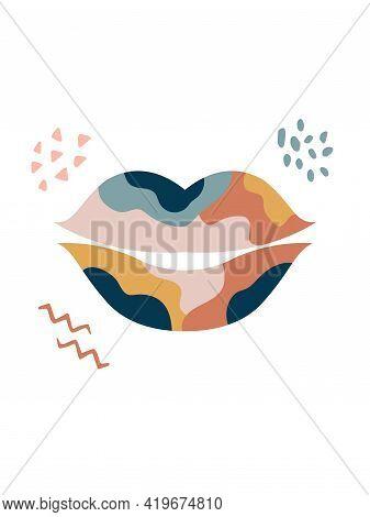 Wall Art Design, Graphic Print With Boho Lips