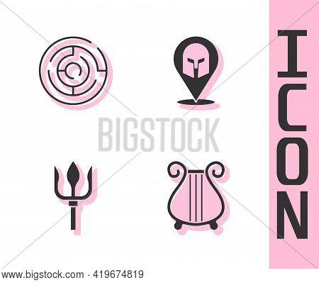 Set Ancient Lyre, Minotaur Labyrinth, Neptune Trident And Greek Helmet Icon. Vector