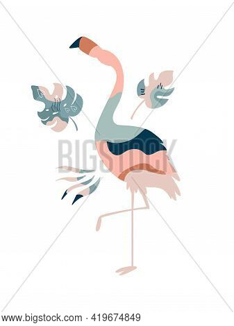 Wall Art Design, Graphic Print With Boho Flamingo And Tropical Leaves