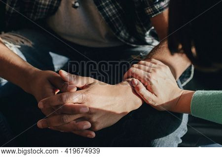 People support each other in a rehab session