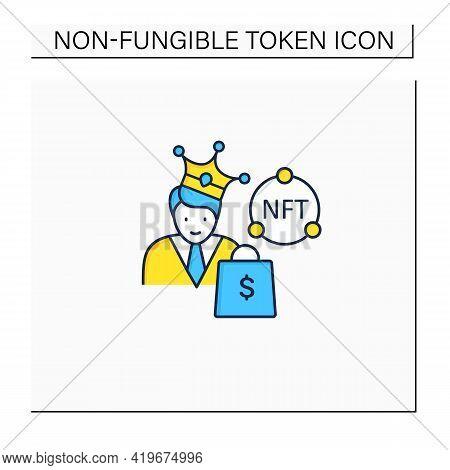 Nft Buyer Color Icon. Gain Possession Original Digital File. Buying Nft Files. Digitalization Concep