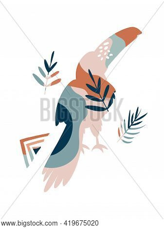 Wall Art Design, Graphic Print With Boho Toucan And Tropical Leaves, Shapes