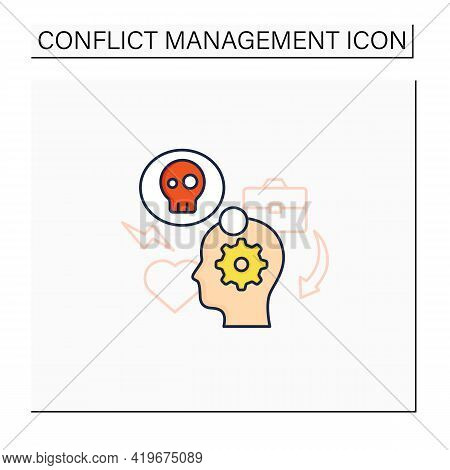 Stress Management Color Icon.controlling Person Stress Level. Avoid Stressful Situations. Conflict M