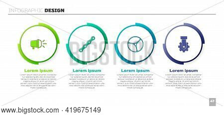 Set Bicycle Head Lamp, Chain, Wheel And Derailleur Bicycle Rear. Business Infographic Template. Vect