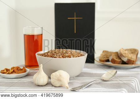Great Lent Dinner Served On Table Indoors