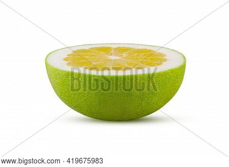 Perfectly Retouched Half Of Pomelo Isolated On White Background. Full Depth Of Field And High Resolu