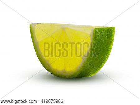 Half Circle Of Lime Slice Glowing From Within. Green Lemon Lime Cut Closeup Detailed On White Backgr