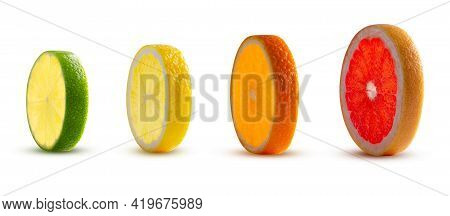 Perfectly Retouched Slices Of Lime Lemon Orange And Grapefruit Pomelo Isolated On White Background.