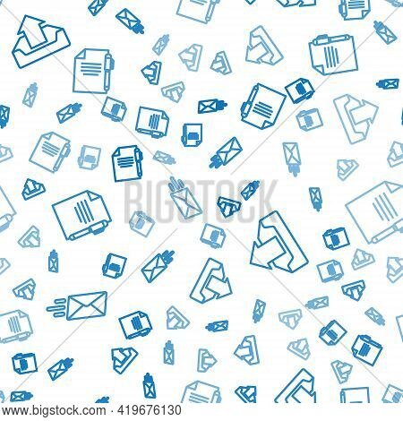 Set Line Express Envelope, Upload Inbox And Document And Pen On Seamless Pattern. Vector