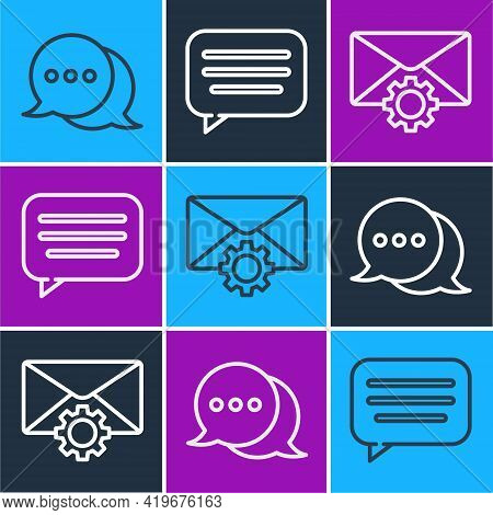 Set Line Speech Bubble Chat, Envelope Setting And Speech Bubble Chat Icon. Vector