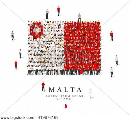 A Large Group Of People Are Standing In Gray, White And Red Robes, Symbolizing The Flag Of Malta. Ve