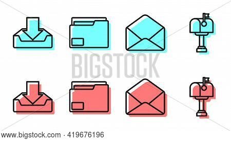 Set Line Envelope, Download Inbox, Document Folder And Mail Box Icon. Vector