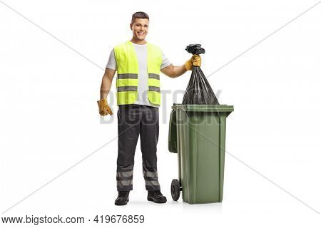 Waste collector holding a bin bag isolated on white background