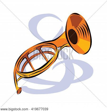 Vector Color Flat Design Tuba Wind Instrument Vector Illustration White Background In Eps10
