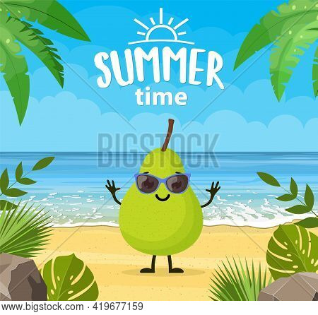 Funny Summer Banner With Fruit Characters. Tropical Beach. Summer Landscape. Cartoon Pear Characters