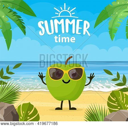 Funny Summer Banner With Fruit Characters. Tropical Beach. Summer Landscape. Cartoon Apple Character