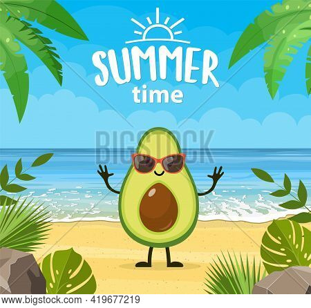 Funny Summer Banner With Fruit Characters. Tropical Beach. Summer Landscape. Cartoon Avocado Charact