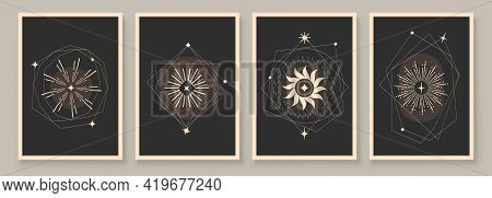 Abstract Contemporary Art With Celestial Geometry Shapes. Esoteric Mystical Celestial Stars Sacred W