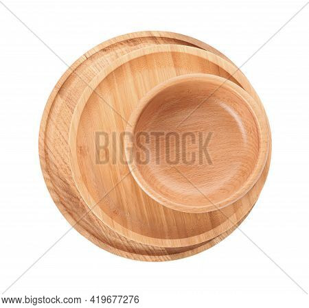 Empty Clean Wooden Dishware Isolated On White, Top View