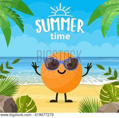 Funny Summer Banner With Fruit Characters. Tropical Beach. Summer Landscape. Cartoon Orange Characte