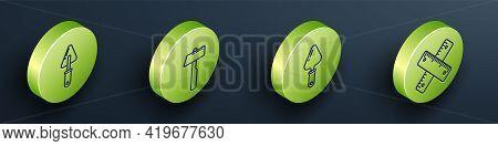 Set Isometric Trowel, Hammer, Trowel And Crossed Ruler Icon. Vector
