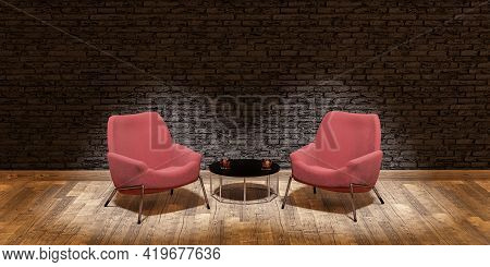 Stage With Two Sofas And Central Table Illuminated By Spotlights In Concept Of Debate, Talk Or Inter