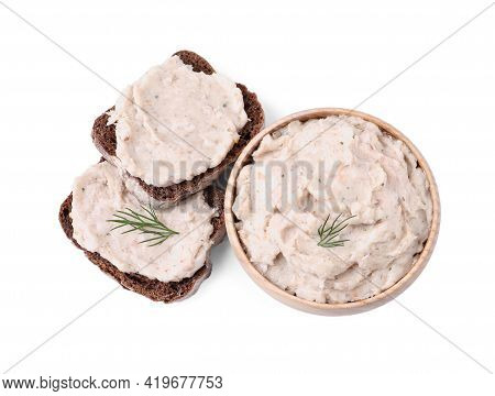 Lard Spread In Bowl And Sandwiches Isolated On White, Top View