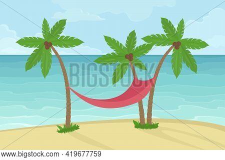 Hammock Om Coconut Tree. Cartoon. Vector Illustration.