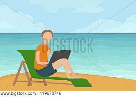 Freelancer Sitting In Lounger And Working On Laptop. Vector Illustration.