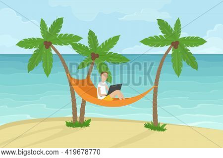 Freelancer Sitting In Hammock Under Coconut Palms And Working On Laptop. Vector Illustration.