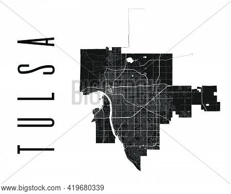 Tulsa Map. Detailed Vector Map Of Tulsa City Administrative Area. Cityscape Poster Metropolitan Aria