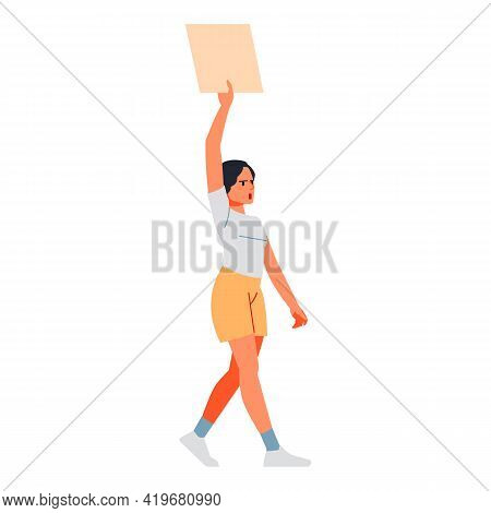 Young Woman Activist Marching In Protest With Banner, Screaming Angry. Female Protester Character, E