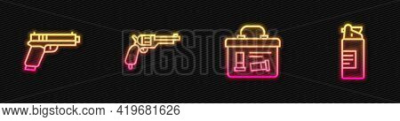 Set Line Military Ammunition Box, Pistol Or Gun, Revolver And Weapons Oil Bottle. Glowing Neon Icon.