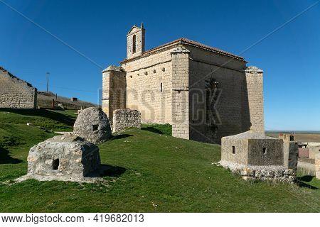Ampudia, Spain - February 23, 2021: Santiago Hermitage In Ampudia In A Sunny Day, Palencia, Castilla