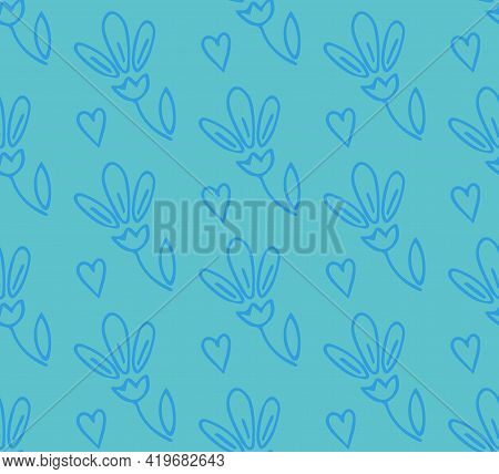 Cute Seamless Pattern With Hand Drawn Simple Floral Doodle Flowers And Hearts In Outline On Blue Bac