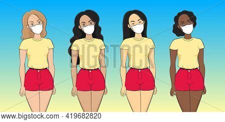 Multiethnic Group Of Women In Medical Masks. Vector Illustration.