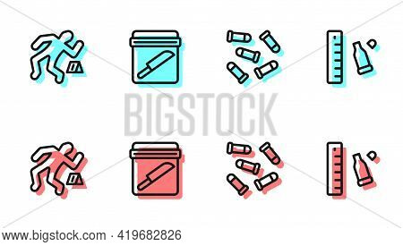 Set Line Bullet, Crime Scene, Evidence Bag With Knife And Casing Ruler Icon. Vector