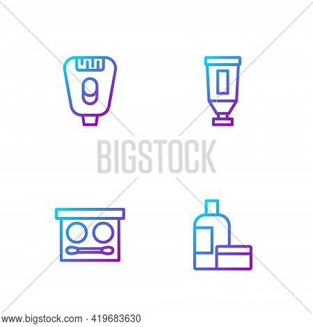 Set Line Cream Or Lotion Cosmetic Tube, Eye Shadow Palette, Epilator And . Gradient Color Icons. Vec