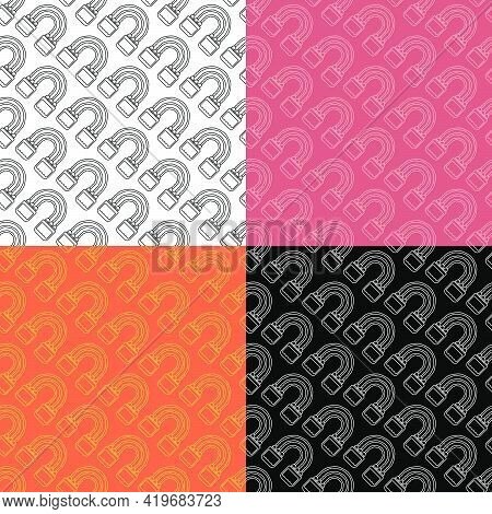 Set Of Seamless Patterns With Sports Elastic Expander For Arms And Chest. Active Healthy Lifestyle.