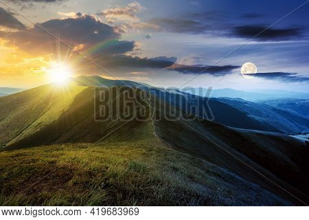 Day And Night Time Change Concept Above Mountain Landscape In Summer. Grassy Meadows On The Hills Ro