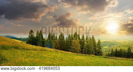 Forest On The Grassy Meadow In Mountains At Sunset. Beautiful Countryside Landscape In Evening Light