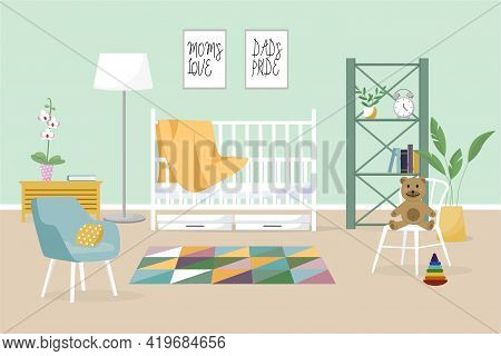 Interior Of A Modern Childrens Room. Vector Banner. Design Of A Cozy Room With A Playpen, An Armchai