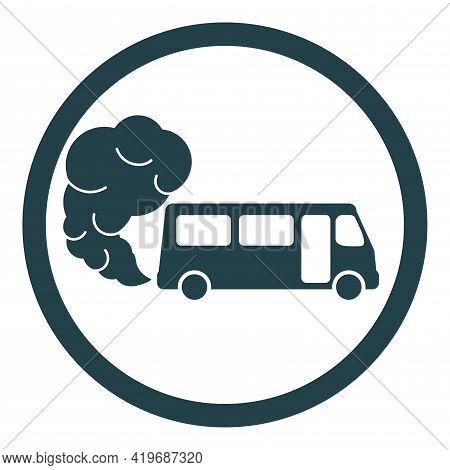 Prohibiting Hazardous Exhaust Gas Sign. Bus Icon With Exhaust Gases. Exhaust Fumes. Environmental Po