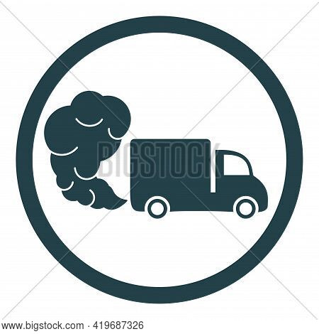 Truck Or Van Icon With Exhaust Gases. Exhaust Fumes. Environmental Pollution. Smog.