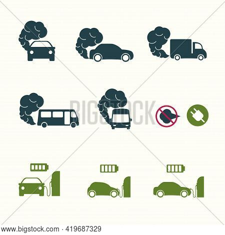 Set Of Icons On The Theme Of Environmental Pollution Due To A Car. Bus Icon With Exhaust Gases. Exha