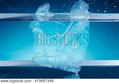 Single use plastic bag polluting the ocean