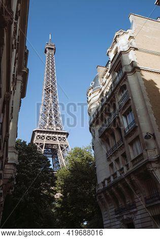 The Eiffel Tower at Champ de Mars in Paris, France